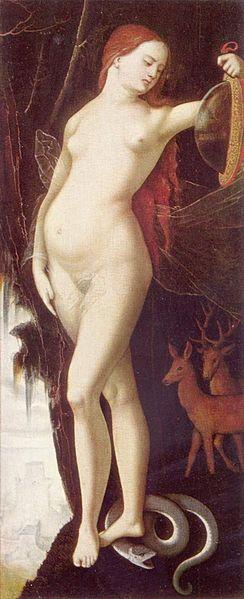 Frau mit Spiegel und Schlange (Vanitas?) by Hans Baldung ... Vanity/Pride