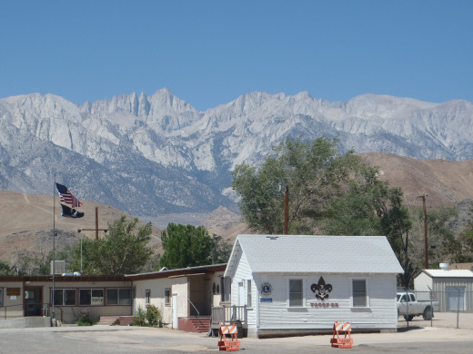 Mount Whitney (left of center) seen from Lone Pine, California. Highest point in the United States outside of Alaska.