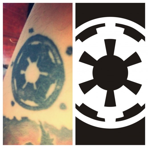 Right: Neil's tattoo  Left: The Imperial Symbol
