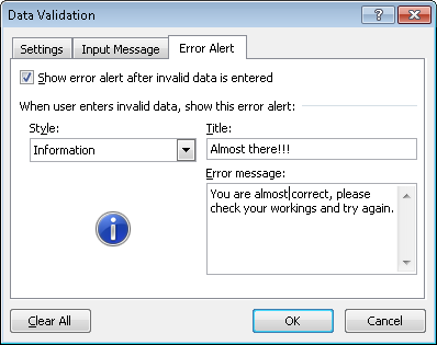Example of a customised Information alert configured for data validation in Excel 2007 and Excel 2010.