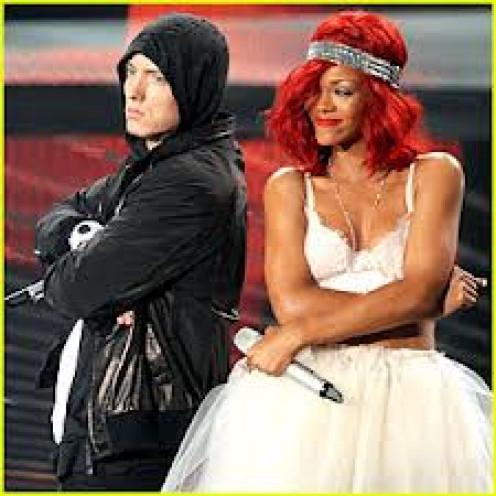 Eminem and Rihanna performing at the Video Music Awards.