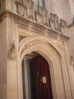 Entrances to religious buildings are often guarded by angels.