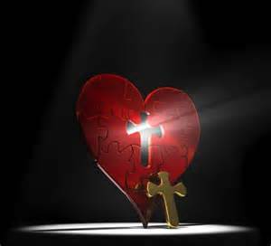 The cross is embedded in the heart that is thankful to God, it is a good heart
