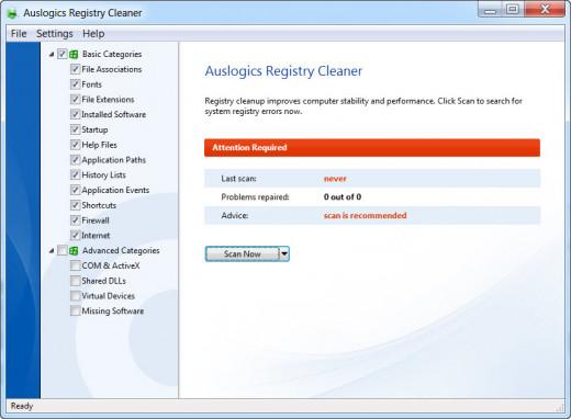 UI of Auslogics Registry Cleaner