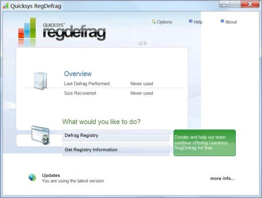 Quicksys RegDefrag GUI