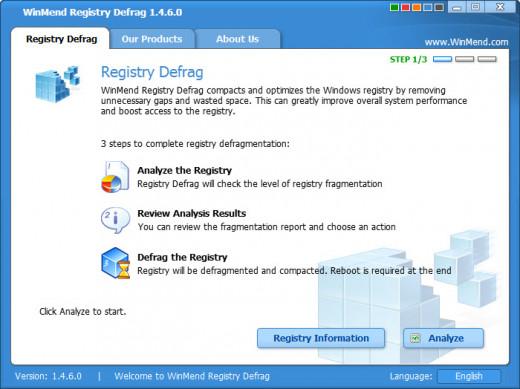 WinMend Registry Defrag Interface