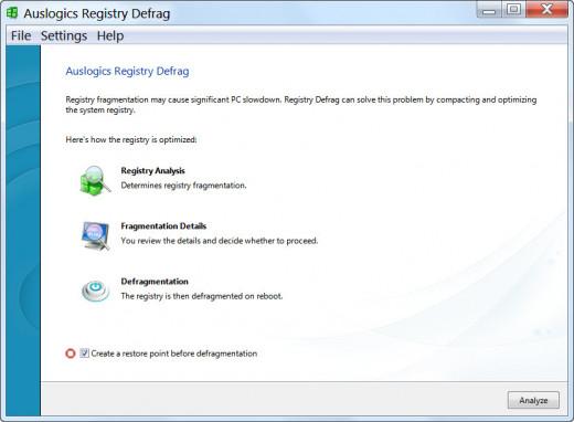 Auslogics Registry Defrag GUI