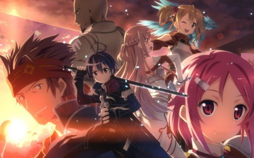 "Main characters in the ""Sword Art Online""' story arc."