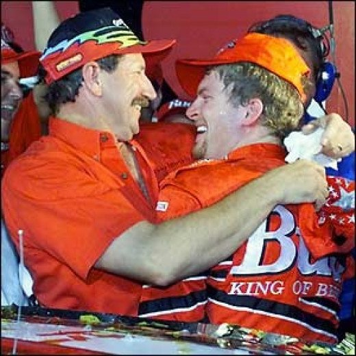 Both Earnhardts celebrate Dale Jr's first Cup win in Texas, 2000