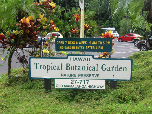 Sign welcoming visitors to the Hawaii Tropical Botanical Garden Nature Preserve located at 27-717 Old Mamalahoa Highway, Hawaii