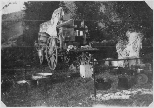 A Two-Bar Chuck Wagon camped at the Dry Fork of Elkhead Creek during Spring of 1907.