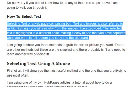 This is how the selected portion of text looks when it is highlighted - so you can always be sure that you have captured the text that you want!