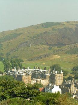 Arthur's Seat rising above Holyrood Palace, Edinburgh.