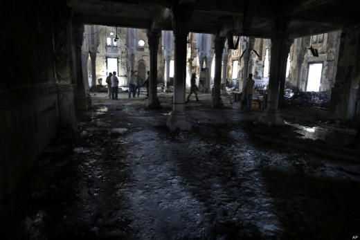 The burned remains of the Rabaah al-Adawiya mosque.