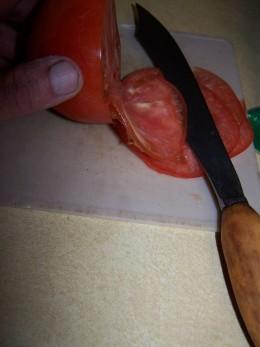 tomato sliced thin.