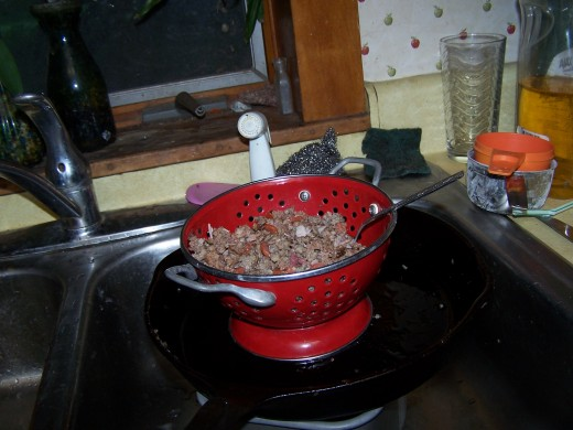 Meat Drained and ready.