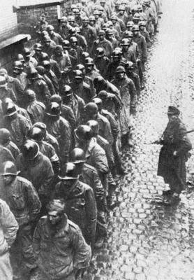 GI POWs being marched east into Germany.