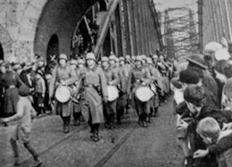 Troops marching into the Rhineland