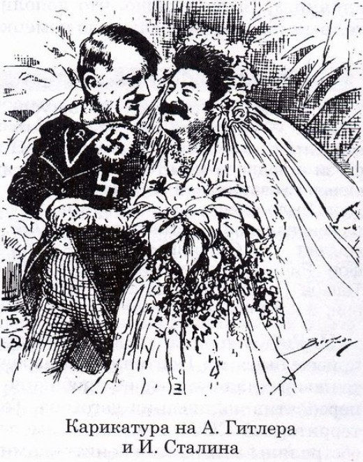 Satirical look at the Nazi-Soviet pact. The caption reads 'How long will the honeymoon last?'.