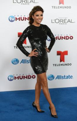 Eva Longoria short black evening dress