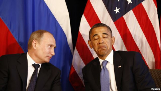 Happy to be here? Russian President Vladimir Putin (left) and U.S. President Barack Obama hold talks in Mexico in June 2012