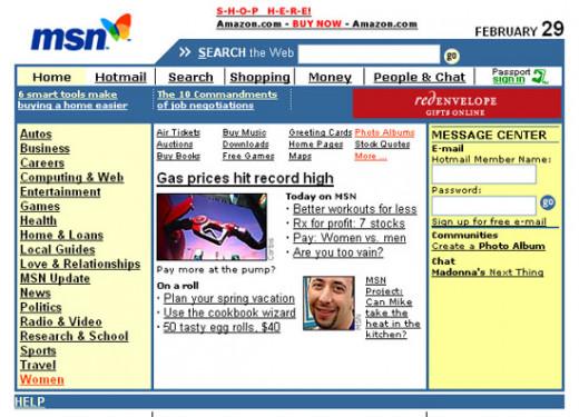 MSN.Com Website Design - 2000
