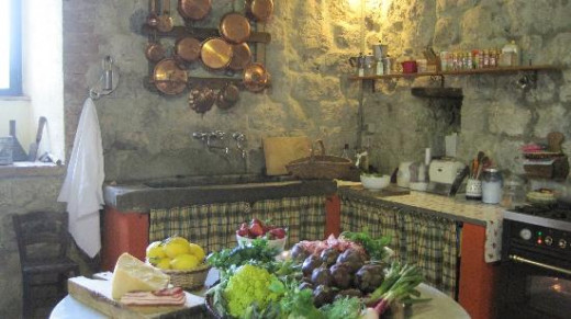 The view of Ecco La Cucina's  900-year old kitchen where Gina and her team of expert chefs hold a one-day class of Italian cooking.