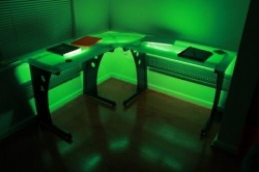 Techni Mobili L-Shaped Desk Lit with Green CCFL Lighting
