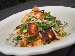 Finished Zesty Tofu Salad with Turmeric Dressing.