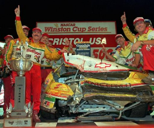 Winning at Bristol meant getting to victory lane no matter what your car looked like when it got there