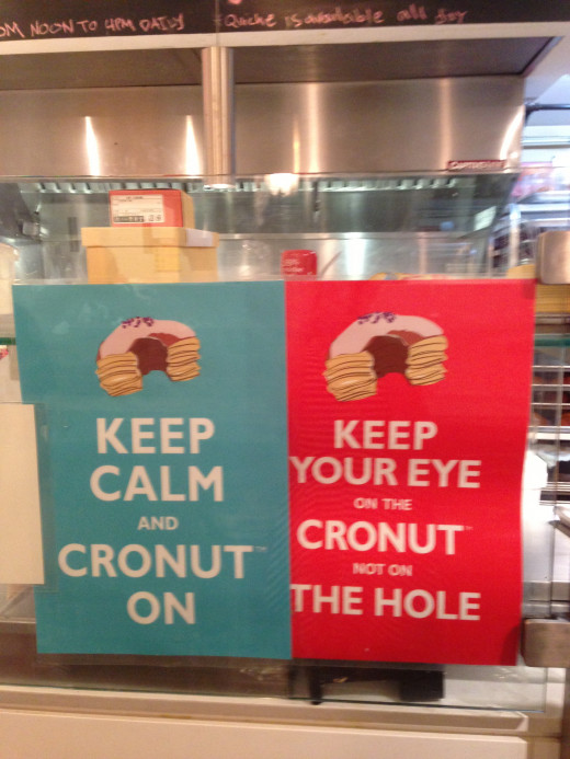 Dominique Ansel's trademark desserts sport 'keep calm' signs at the Manhattan-based bakery when they originate
