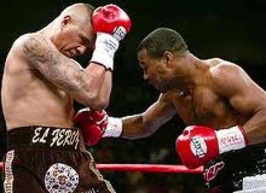 Sugar Shane Mosley, seen here landing a huge body shot, fought Fernando Vargas twice and won both bouts by knockout.