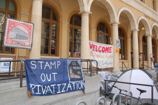 The defenders of the Berkeley Post Office decry the privatization of Constitutionally-guaranteed public services.