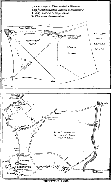 Diagrams of the scene where Mary Ashford was murdered.