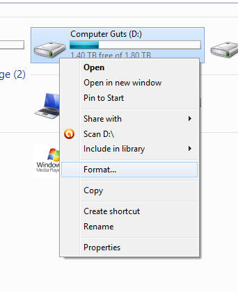 A quick way to reformat a drive, without partitions.