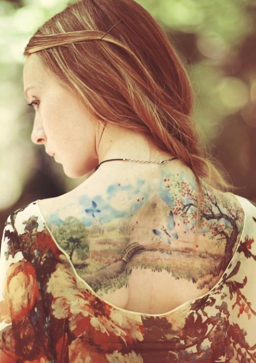 Watercolor landscape tattoo