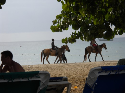 Horseback riding on the Caribbean in Negril, Jamaica
