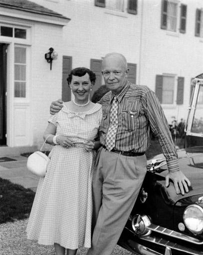 President and Mrs. Dwight D. Eisenhower at their farm in Gettysburg, Pennsylvania on the occasion of their 39th wedding anniversary