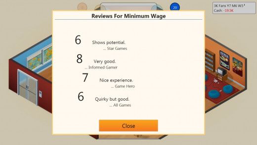 Reviews for the life sim, 'Minimum Wage', were surprisingly positive.