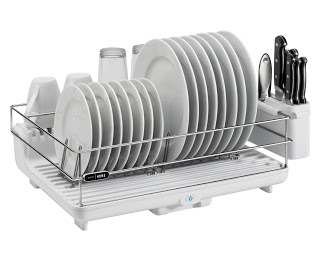 dry dish rack on the kitchen sink