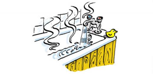 Always ensure bathwater is not scalding hot.