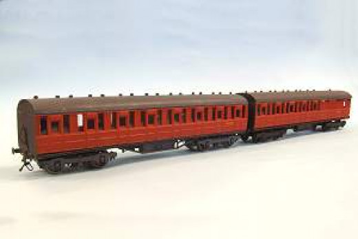 Kit-built Ian Kirk Gresley suburban stock in British Railways livery, eight compartment all 2nd and brake 2nd as seen on Thoraldby layout the left, 4 compartment brake 2nd on the right, Fiddly to build but worth it in the end.