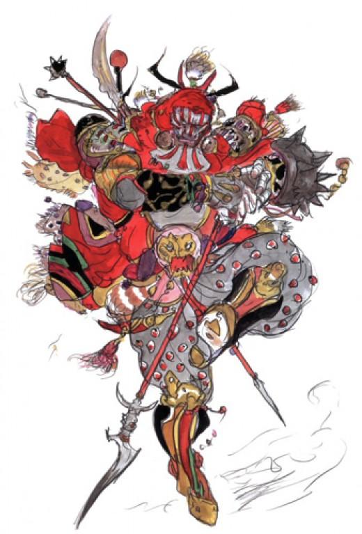 Gilgamesh from Final Fantasy V - Yoshitaka Amano design