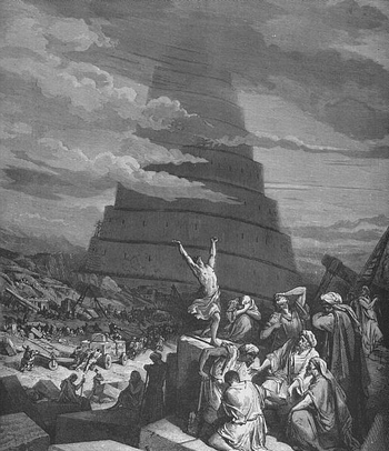 Engraving The Confusion of Tongues by Gustave Doré (1865)