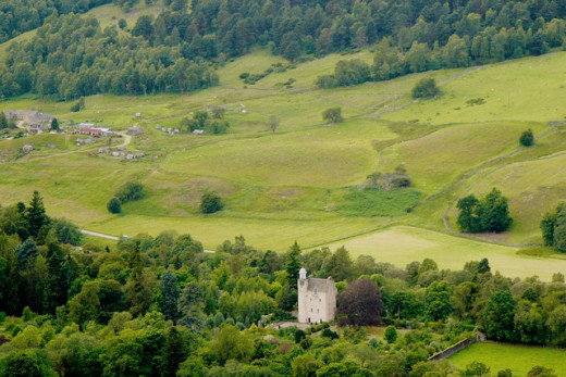 Abergeldie Castle and the hill where Kittie was executed.