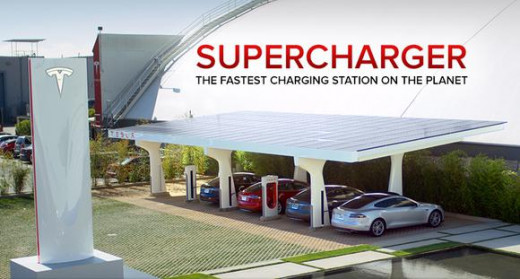 The supercharger stations that Tesla has so people can get a free charge.