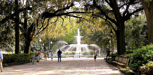 Forsyth Park in Savannah. The fountain was built inn 1858, pre-Civil War.