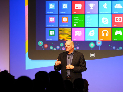 Microsoft CEO Steve Ballmer at the Windows 8 Launch on October 25, 2012