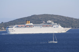 Cruise ship in the Adriatic sea and island view from the terrace, Croatia