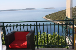 Adriatic sea and island view from the terrace, Uvala Liubljeva, Croatia